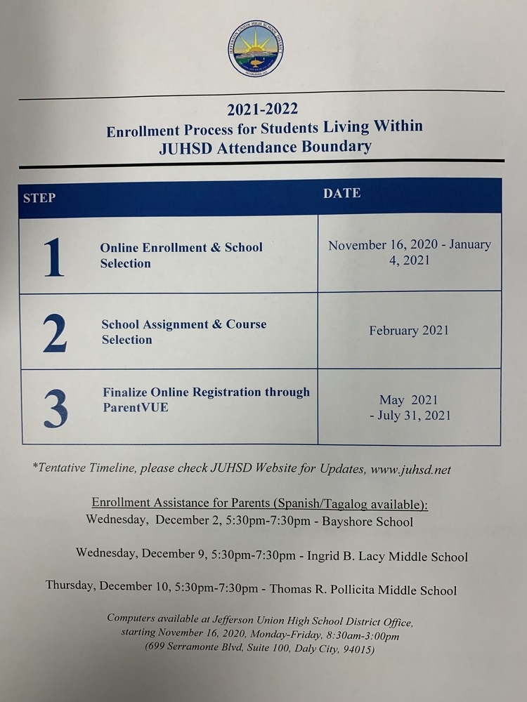 Enrollment Process for Incoming 9th Graders for the 2021-2022