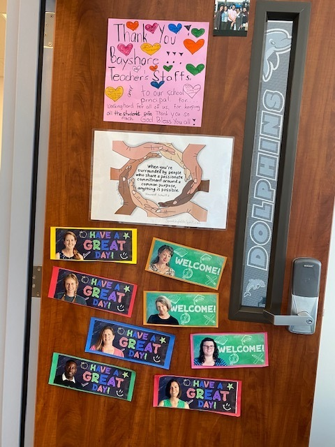 Some staff pictures on Ms. Baker's door- we miss you!
