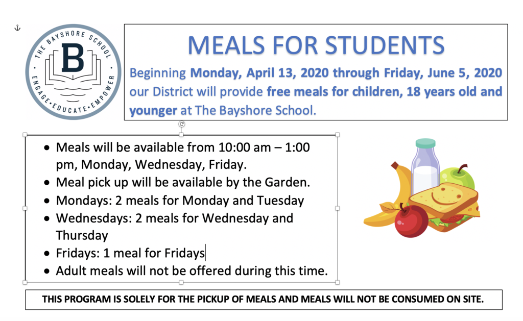 Meals for Students Flyer (Mondays, Wednesdays, Fridays)